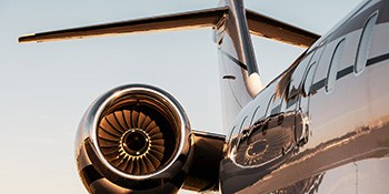 Close up of private jet engine